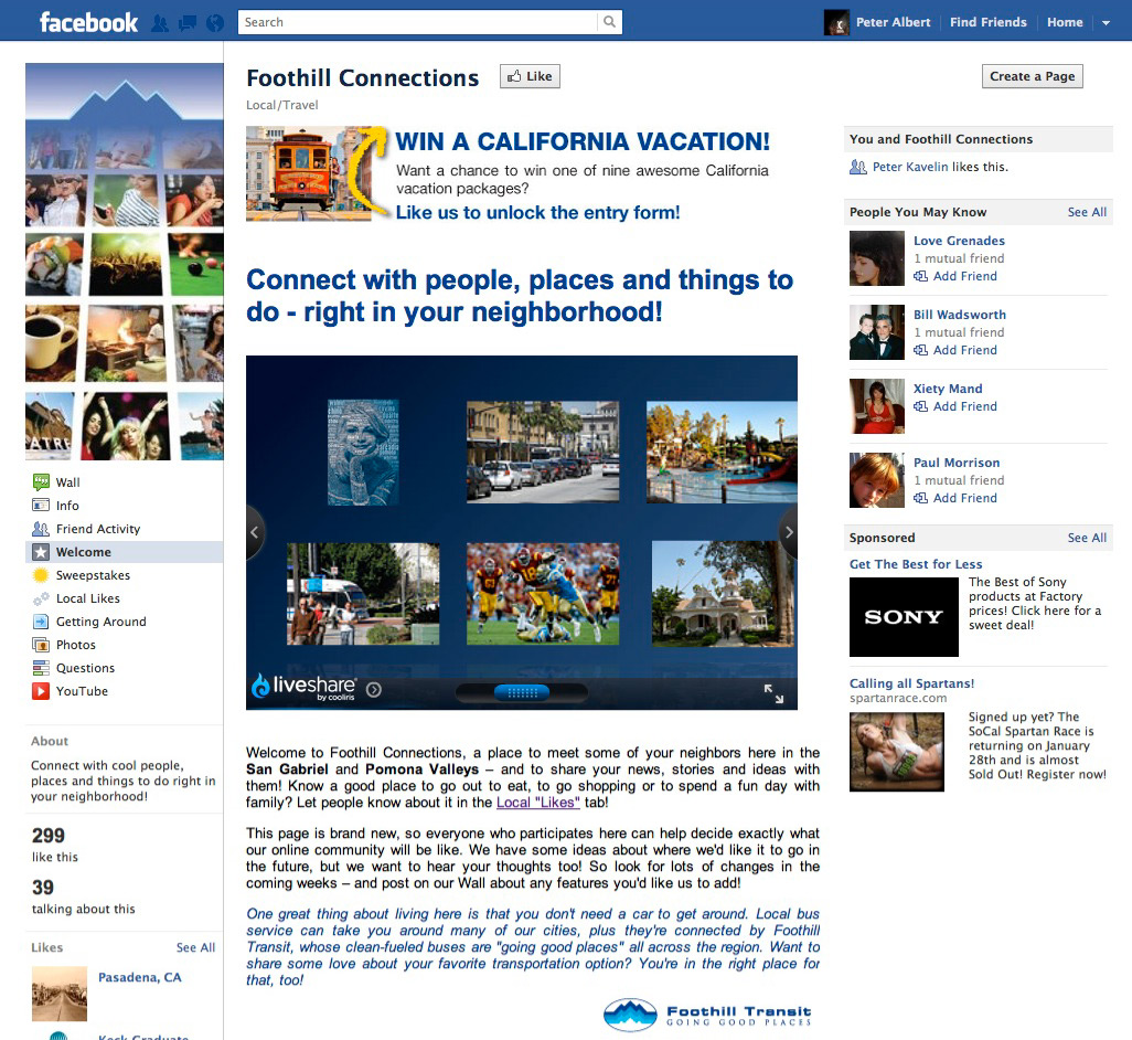 Foothill Connections - Welcome Tab